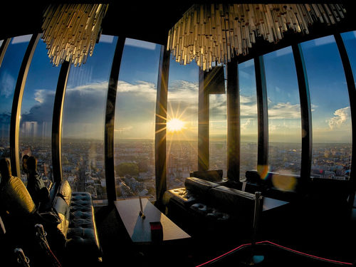 Bar Rouge in the Messeturm with view over Basel and sunset