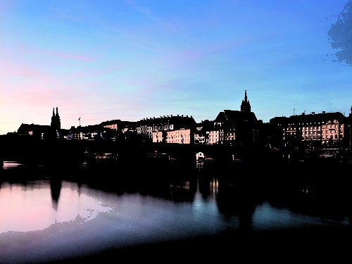 Panoramic view over Basel with Rhine Bridges