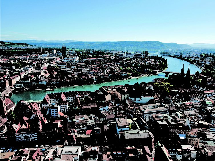 Aerial view of Basel with Kleinbasel and Großbasel, River Rhine