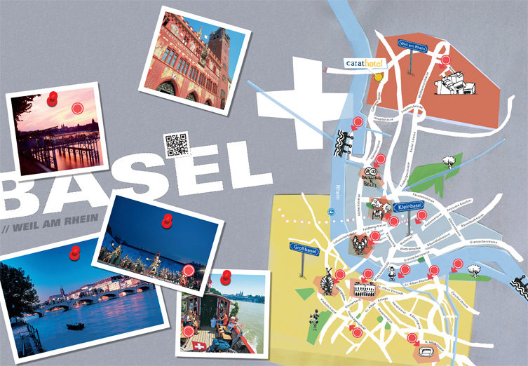 carathotel city map of Basel with sights and highlights